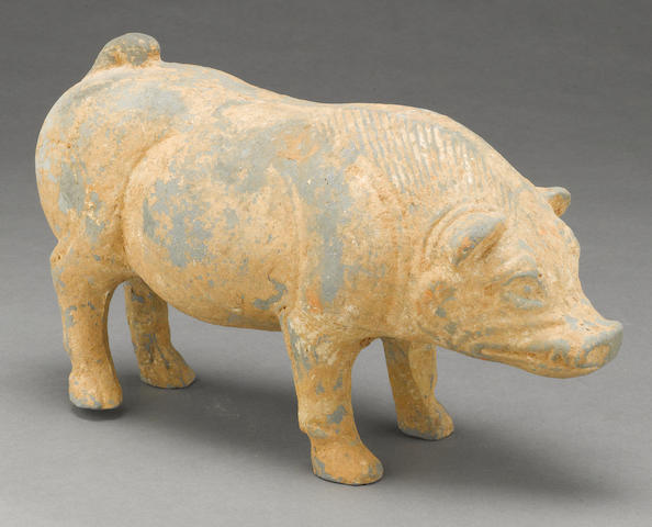 A gray pottery model of a boar Han dynasty