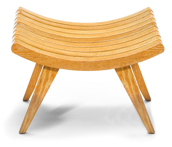 An Edward Durell Stone for Fulbright Furniture oak stool   designed 1945