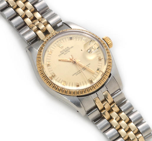 A stainless steel and fourteen karat gold wristwatch, Rolex
