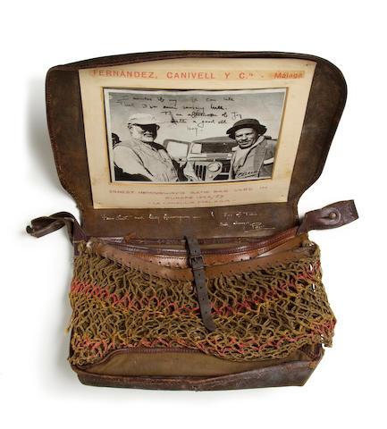 HEMINGWAY, ERNEST. 1899-1961. Leather satchel-type game bag,