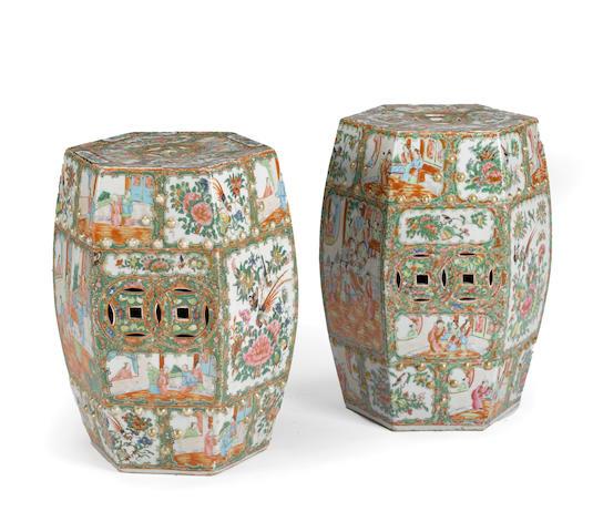 A pair of Canton famille rose enameled porcelain hexagonal garden seats 19th century