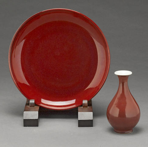 A Langyao glazed porcelain dish and small vase
