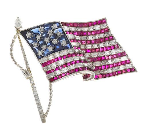 A ruby, sapphire and diamond brooch, Oscar Heyman & Brothers