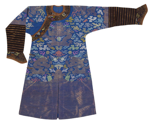 A blue ground brocade dragon robe Late Qing dynasty