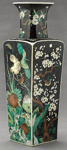 A famille noire enameled porcelain baluster vase Kangxi mark, late Qing/Republic period