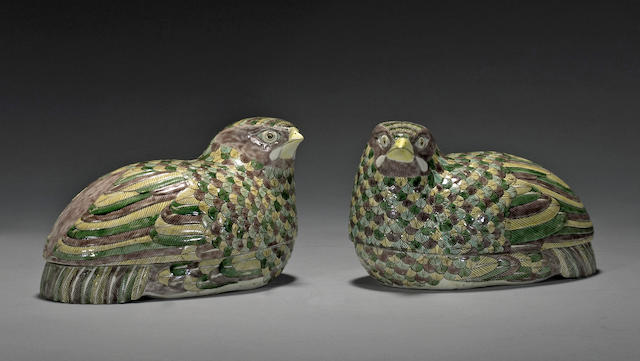 A pair of three-color glazed porcelain quail boxes Republic period