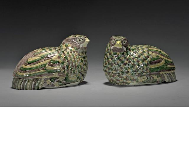 A pair of three-color glazed porcelain quail boxes Republic period