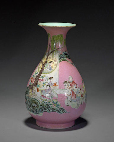 A rose sgraffito-ground enameled porcelain vase Qianlong mark, Republic period