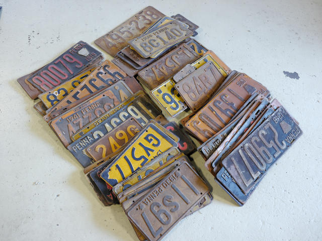 A large grouping of pre-WWII Pennsylvania license plates,