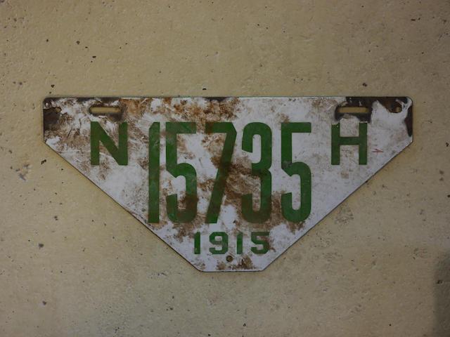 A 1915 porcelain enamel New Hampshire visitors plate,