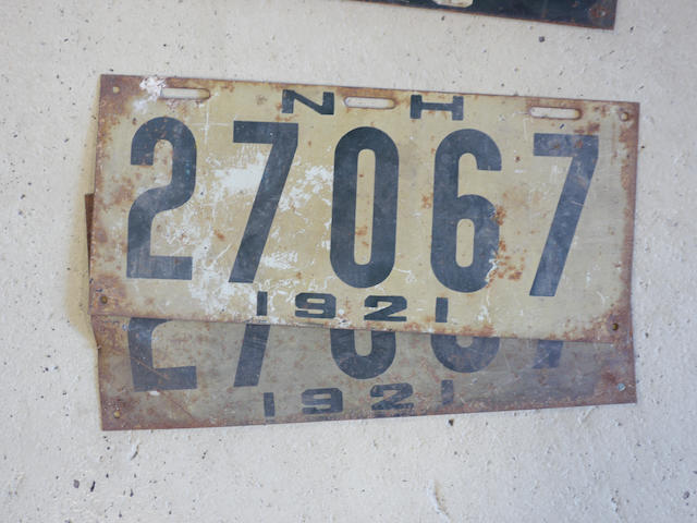 A match set of New Hampshire 1921 license plates,