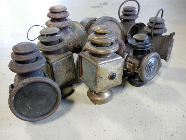 A mixed lot of Brass Era head and side lamps,