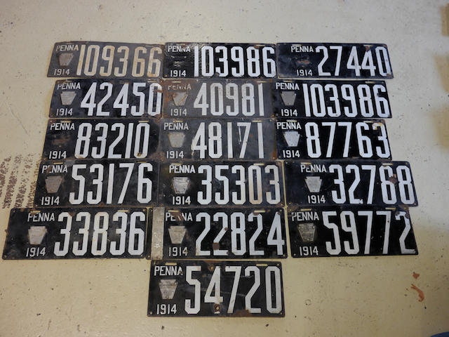A collection of 1914 porcelain enamel Pennsylvania license plates,