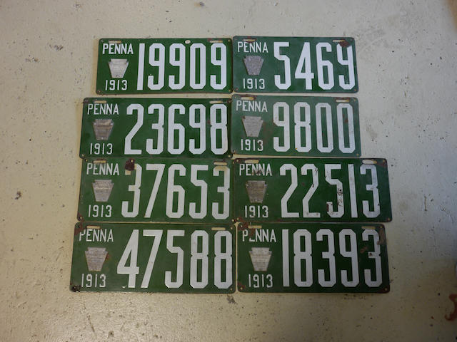 A collection of 1913 Pennsylvania porcelain enamel license plates,