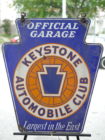 A double-sided, porcelain enameled Keystone automobile club sign,