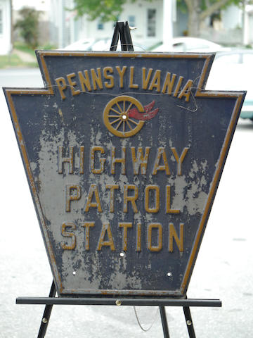 A Pennsylvania highway patrol station sign in Boston steel,