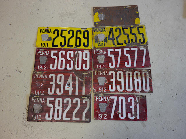 A collection of 1911 and 1912 porcelain enamel Pennsylvania license plates,