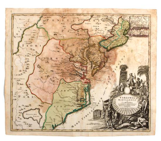 [MAP OF COLONIAL AMERICA.] HOMANN, JOHANN BAPTIST. Virginia, Marylandia et Carolina in America septentrionali Britannorum industria excultæ repræsentatæ â Ioh. Bapt. Homann. Norimbergæ: [ca.1759].