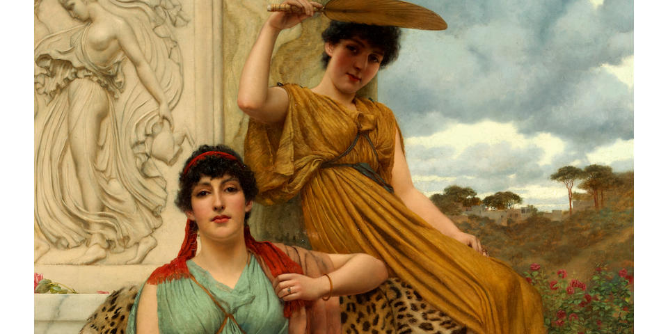 John William Godward, RBA (British, 1861-1922) Waiting for the procession 42 1/4 x 28in (107.3 x 71.1cm)