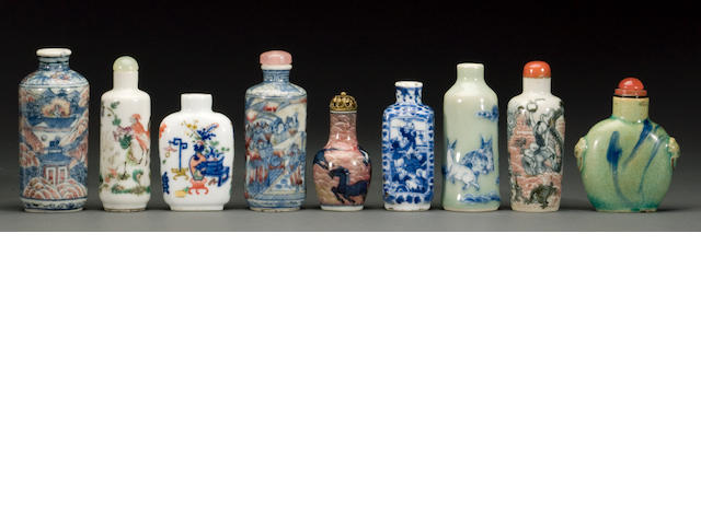 Nine porcelain snuff bottles