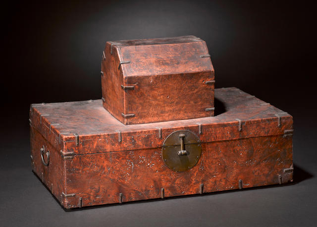 A Himalayan burlwood rectangular storage box Late 19th/Early 20th Century