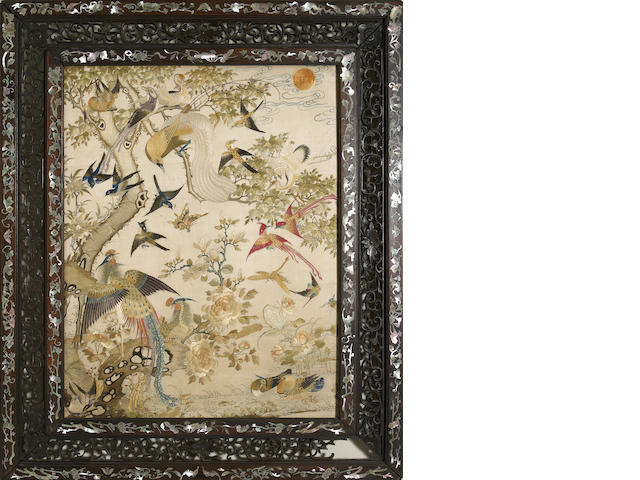 An elaborately embroidered and framed silk panel 18th/19th century