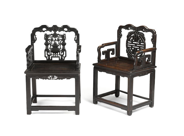 Two hongmu arm chairs 20th century
