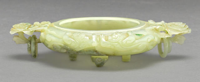 A carved jadeite censer with ring handles