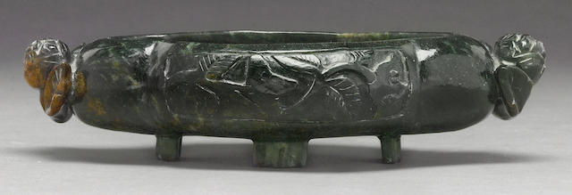 A dark green hardstone footed bowl