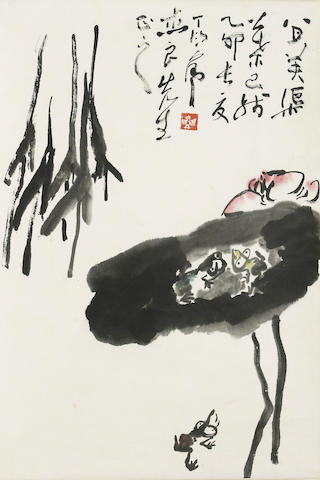Ding Yanyong (1902-1978)   Frog and Lotus, 1975