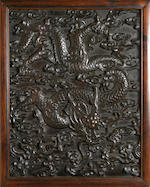 Two carved hardwood dragon panels  Qing dynasty
