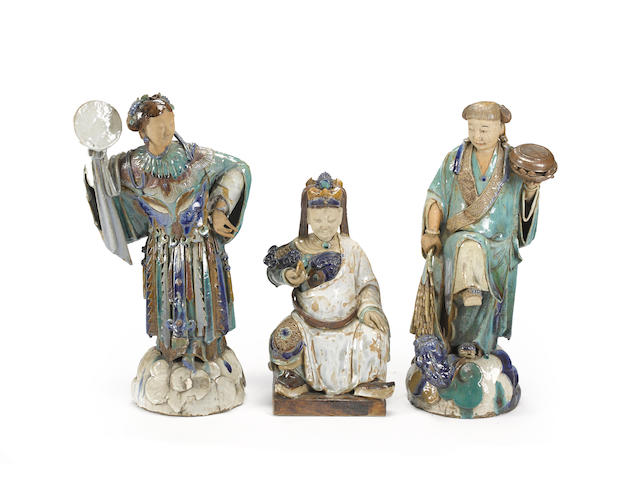 Three glazed ceramic figures of immortals Late Qing/Republic Period