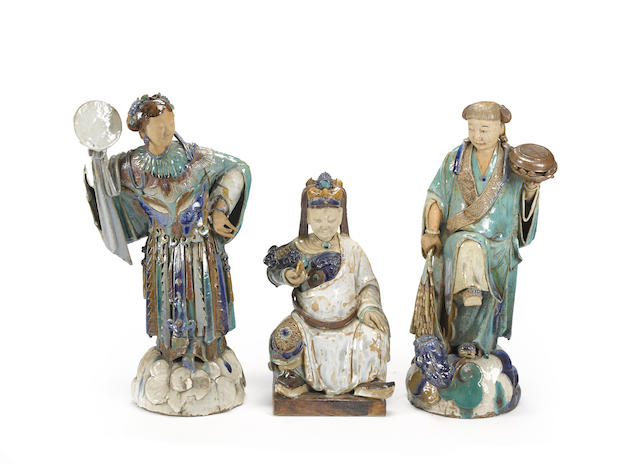 Three glazed ceramic figures of immortals Late Qing/Republic Period
