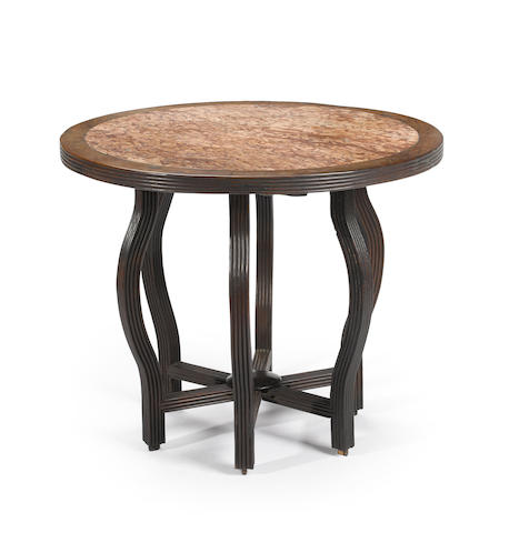 A hardwood circular marble top table Late Qing/Republic Period
