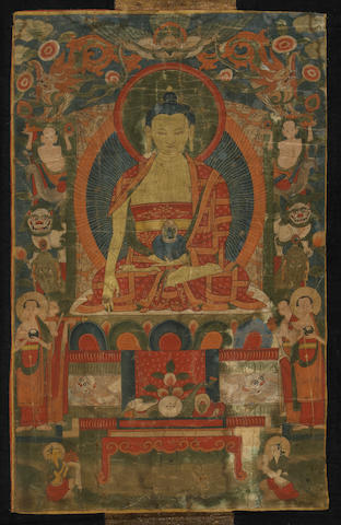 A Tibetan thangka of Shakyamuni Buddha  19th century