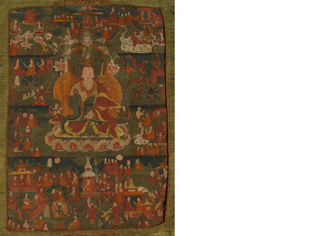 A Tibetan thangka of Padmasambhava  19th century