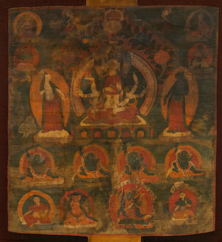 A Tibetan thangka depicting Ushnishavijaya 19th century