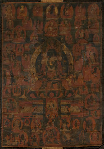 A Tibetan thangka of a yabyum group 19th century