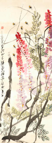 Attributed to Qi Baishi (1864-1957) Wisteria and Bees