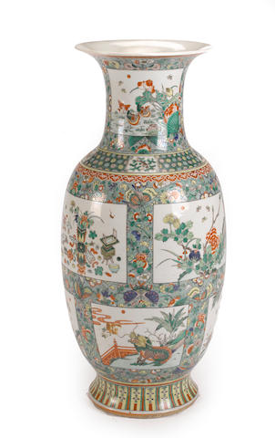 A large famille verte enameled porcelain baluster vase<BR /> Late Qing/Republic period