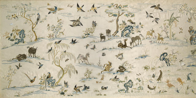 Two embroidered ivory silk panels Late Qing/Republic period