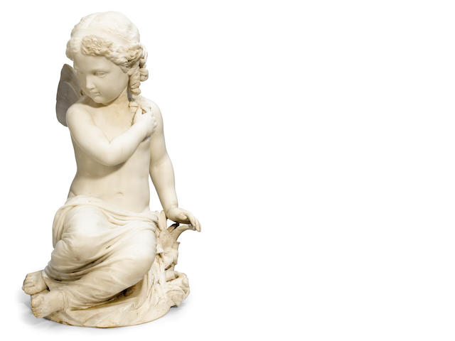 An Italian carved marble figure: Innocenza