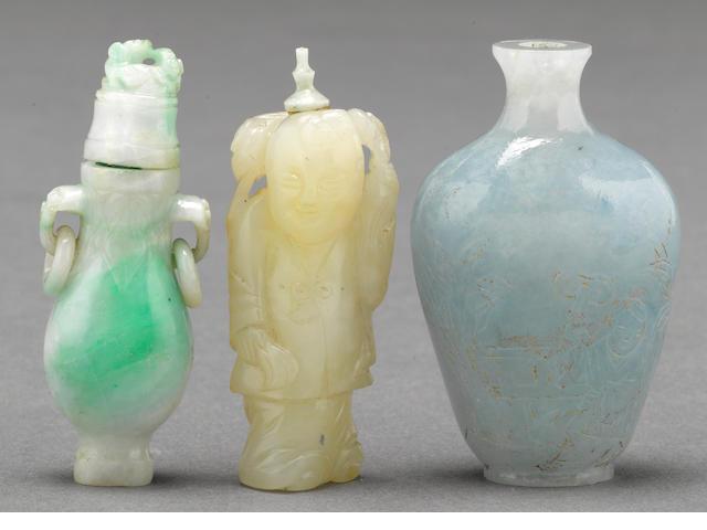 Three jade snuff bottles