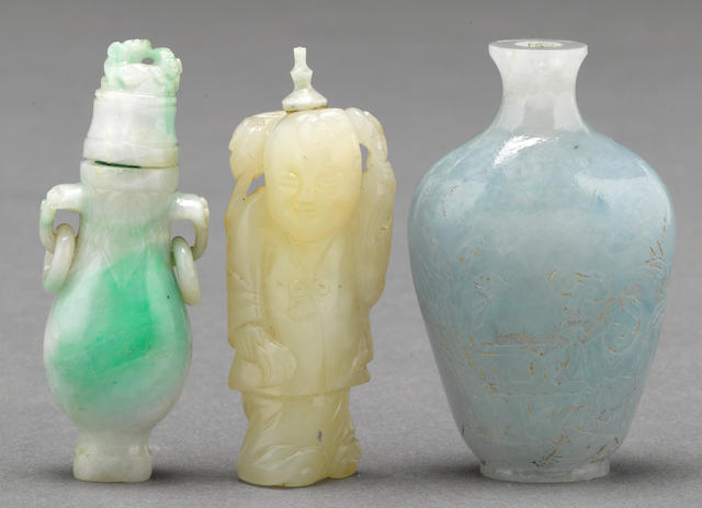 Three jade snuff bottles