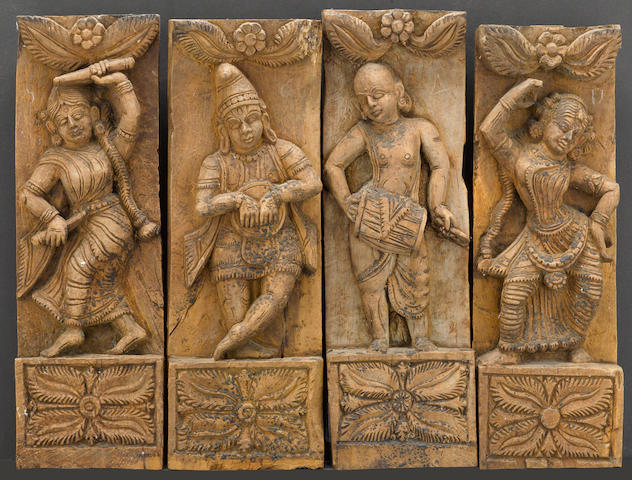 A group of nineteen carved wood architectural fragments India, 19th century