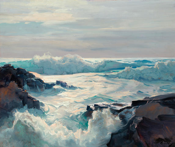 Frederick Judd Waugh (American, 1861-1940) Curling waves 25 x 30in