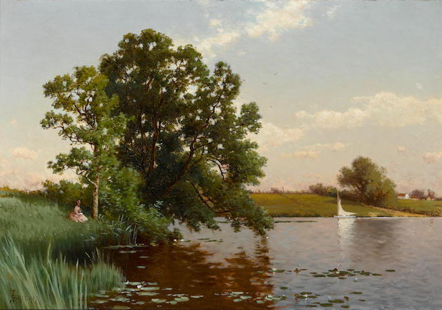 Alfred Thompson Bricher (American, 1837-1908) Young woman by a lake 14 x 20in