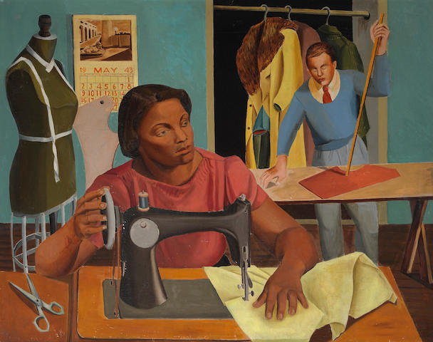 Gertrude Shibley (American, 1916-2006) Tailor Shop, 1943 34 x 43in