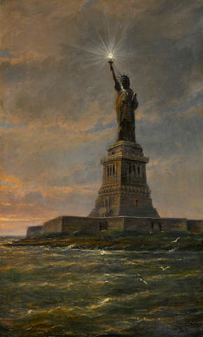 "Christian Dommelsheizen, Statue of Liberty, Oil on Canvas, approx. 34"" x 21"""