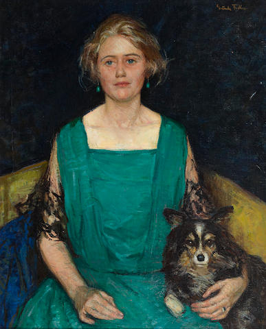 Gertrude Fiske (American, 1879-1961) Portrait of Rosamond Castle Winslow 36 x 29in